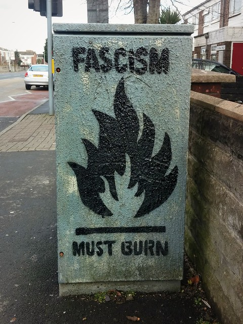 Fascism must burn graffiti in Cardiff