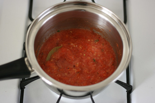 Reducing the tomato sauce