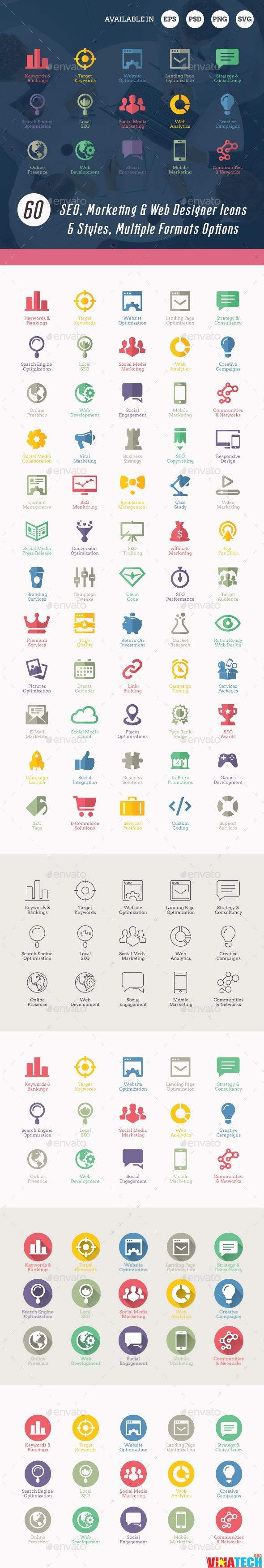 Share bộ 60 icon dịch vụ seo hiện đại