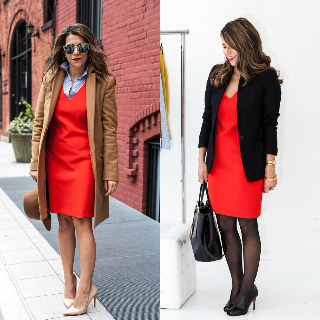 Dress : Trina Turk on sale (similar here, here & here) Shirt : Ann Taylor Shoes : DVF Bethany Heels Coat : Zara (similar here & here) Hat : Target  Sunglasses : Nordstrom  Outfit #2 Dress : Trina Turk on sale (similar here, here & here) Blazer : J.Crew Regent Shoes: Halogen (similar save &  splurge) Bag : Fendi 2Jours what to wear to work how to wear a bold dress to work outfit ideas corporate blogger office blogger