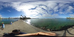 Fishing on the pier at the Kewalo Basin Park, Honolulu, Hawaii  - a 360° Equirectangular VR