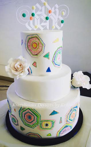 Hand-Painted Doodle Wedding Cake by Anna Kristina Pacia of Krazylicious Desserts by Krissiea