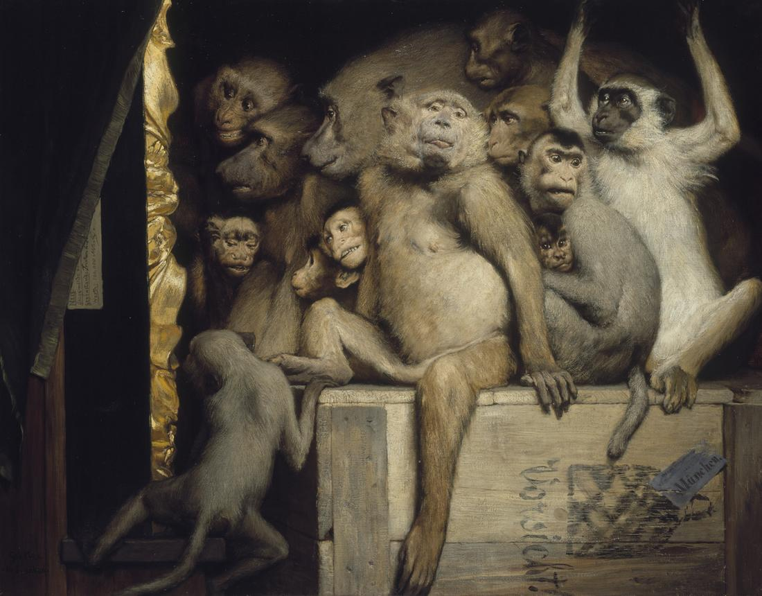 Monkeys as Judges of Art by Gabriel Cornelius von Max, 1889