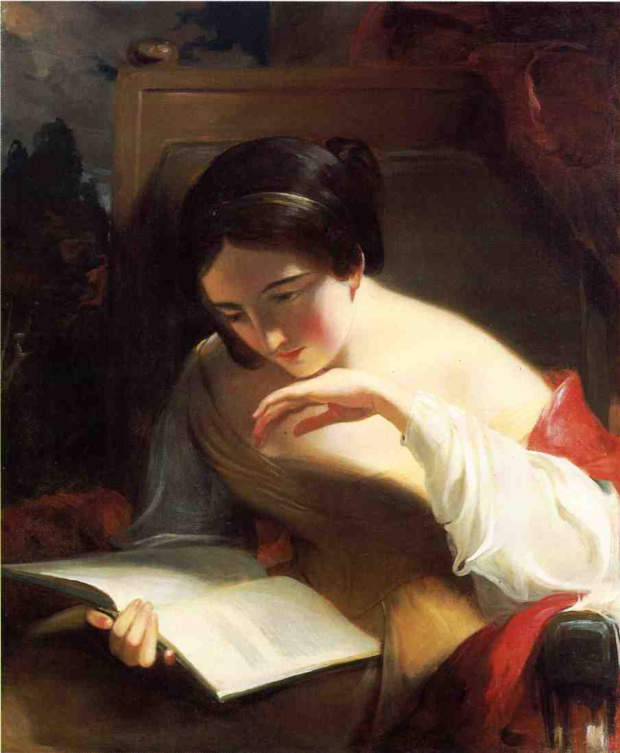 Portrait Of A Girl Reading by Thomas Sully, 1842