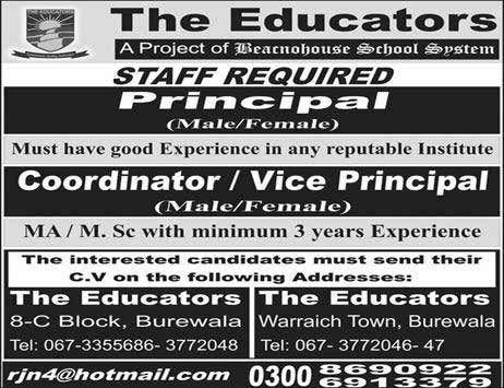 The Educators Burewala Staff Required