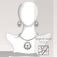 Snowpaws - Fanfare Earrings & Necklace - Red StoneOrnate Silver filigree earrings inspired by the jewelry of Southeast Asia.