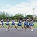 HUAHIN THAILAND-AUG9,2015:Dancers cheer of huahin city fc duriung half time of the match at tanarat stadium