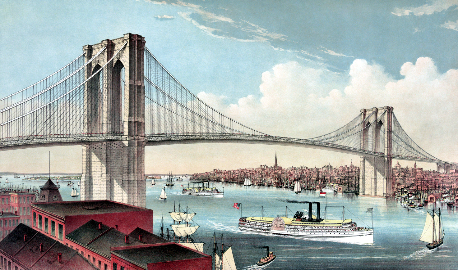 Brooklyn Bridge - connecting the cities of New York and Brooklyn, looking west, 1883
