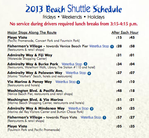 Beach Shuttle Between Venice and Marina + Playa Del Rey