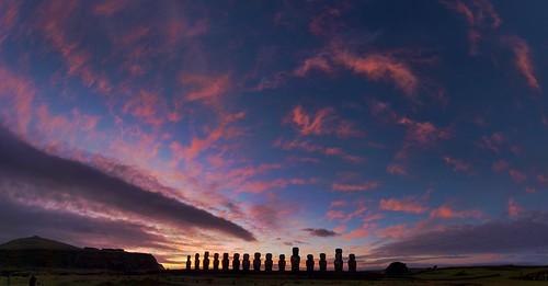 chile blue light sky archaeology clouds sunrise dawn polynesia twilight ancient purple culture monolith moai easterisland megalith rapanui isladepascua tongariki