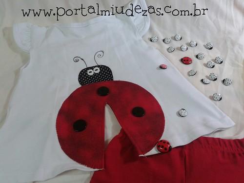 Camiseta Joaninha PatchColagem by miudezas_miudezas