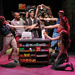 Diego Klock-Perez, center, and members of the cast in a scene from the SpeakEasy Stage Company production of IN THE HEIGHTS, extended now thru June 16 at the Stanford Calderwood Pavilion at the Boston Center for the Arts, 527 Tremont Street in Boston's South End.  Tix/Info:  617-933-8600 or www.SpeakEasyStage.com</a>.  Photo:  Craig Bailey/Perspective Photo.