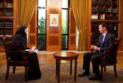 President of Syria Bashar al-Assad in an interview with al-Manar news agency of Lebanon. The interview gained international attention during late May 2013. by Pan-African News Wire File Photos