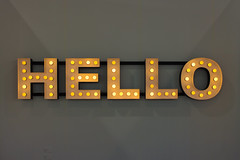 """Mixed Media Installation by Peter Liversidge: Hello, 2013 (58 Light bulbs, powder coated steel, motion activated sensor)"" / Ingleby Gallery / Art Basel Hong Kong 2013 / SML.20130523.EOSM.03963"
