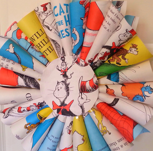 Dr. Suess wreath made from pages of books- TheStyleSisters.blogspot.com