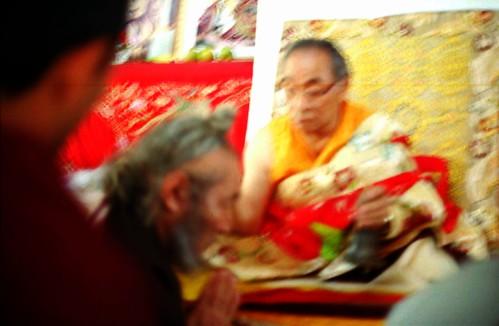 HH Dagchen Sakya gives initiation blessing to Ngawang Chodrub Rinpoche, Tibetan Buddhist meditator, Nyingma master, nakgpa, Sakya Lamdre, Tharlam Monastery, Boudha, Kathmandu, Nepal by Wonderlane