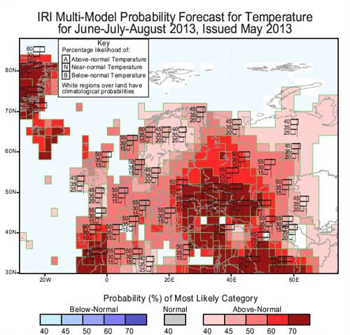 Mapa amb la predicció estacional a Europa a partir de diversos models.