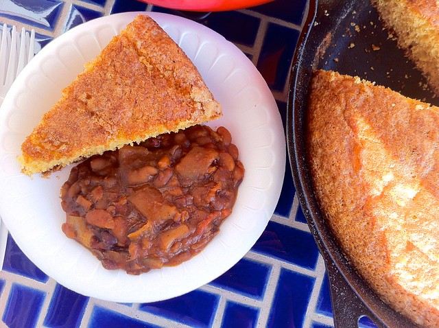 Homemade Baked Beans with Cornbread
