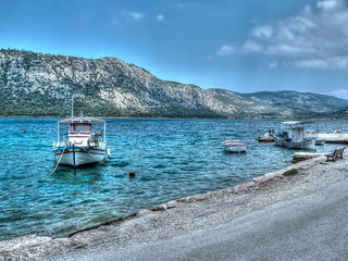 Fishing Boats, Lake Vouliagmeni, Loutraki, Greece