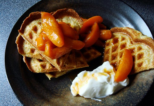 Cornmeal Waffles, Bourbon Apricot Compote, Greek Yogurt