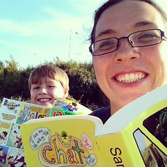 Aaron and I reading at the park #unschooling