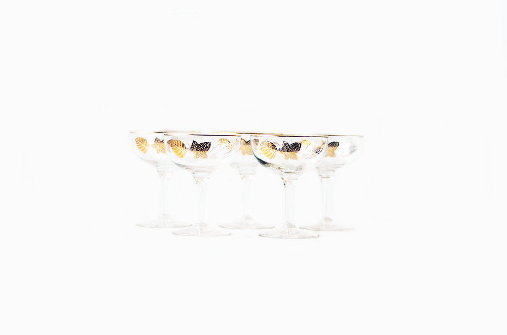Five Vintage Libbey Champagne Glasses in Gold Leaf