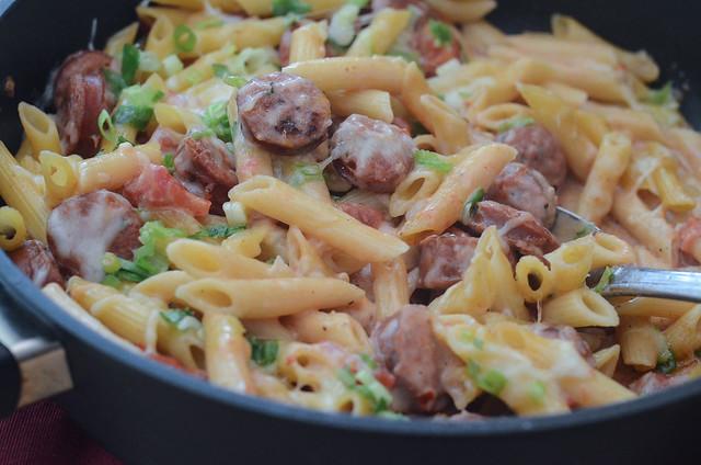 A pan full of Skillet Sausage Pasta.