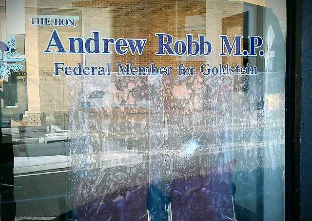 Smashed window at Andrew Robb's office in Bentleigh