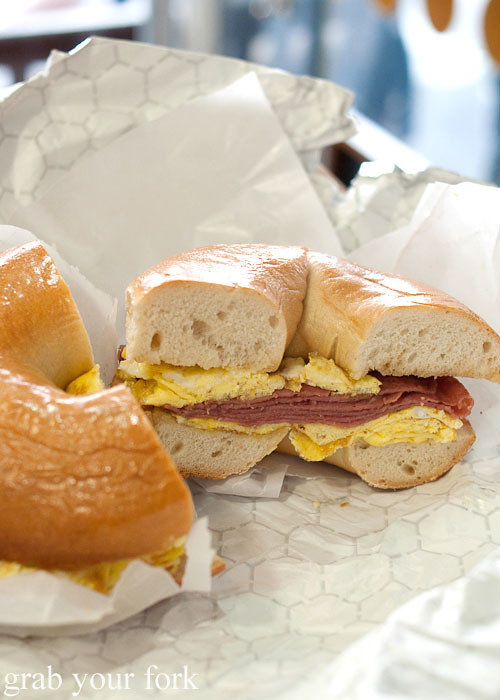 hebrew national salami and omelette bagel at murray's bagels nyc new york usa jewish food