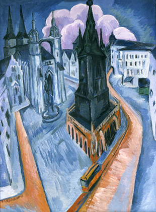 kirchner, red tower in halle 1915