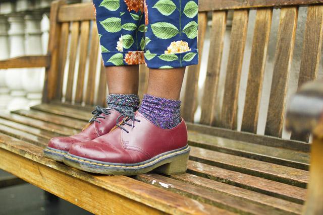 Dr Martens heeled boots glitter socks