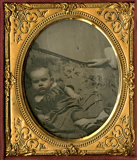 Baby on a Sofa with Hidden Mother's Hand - ¼ Plate Cased Ambortype