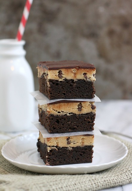 Peanut Butter Chocolate Chip Cookie Dough Brownies