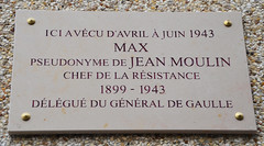 Photo of Jean Moulin white plaque