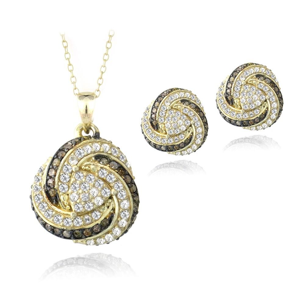 gold tone over sterling silver champagne diamond white. Black Bedroom Furniture Sets. Home Design Ideas