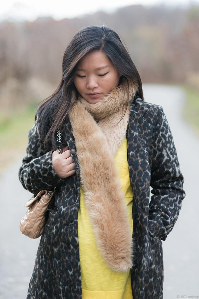 suzy shier leopard print coat, joe fresh faux fur stole, gap oversized sweater