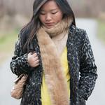 taupe faux fur stole