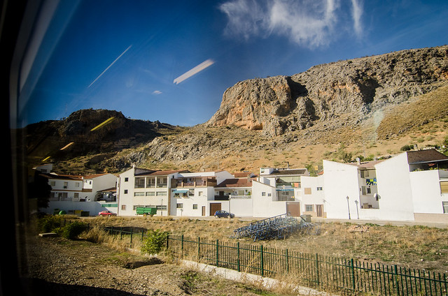 A white mountain town through my train window, on the way to Granada.