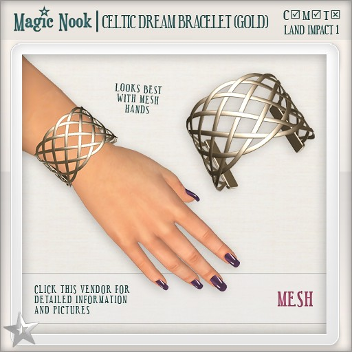 [MAGIC NOOK] Celtic Dream Bracelet (Gold) MESH