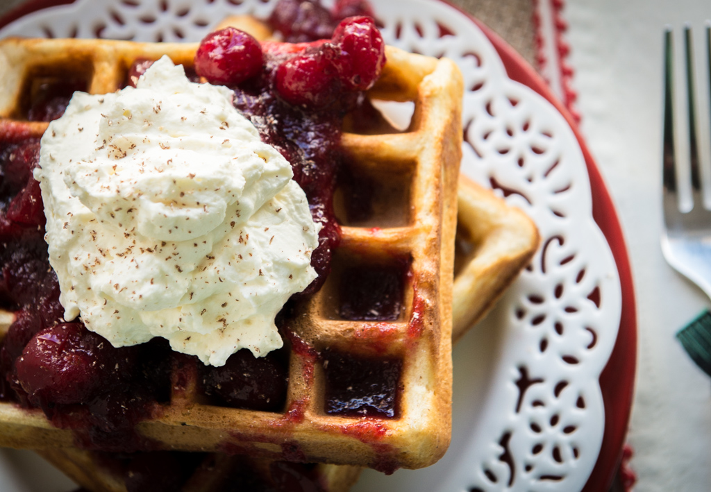 11490832064 5024bcbe1f b Gluten Free Eggnog Waffles with Warm Bourbon Cranberry Compote