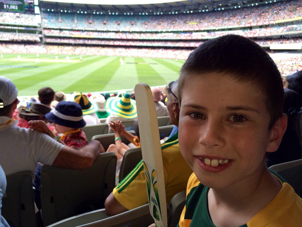 Brad enjoying the cricket