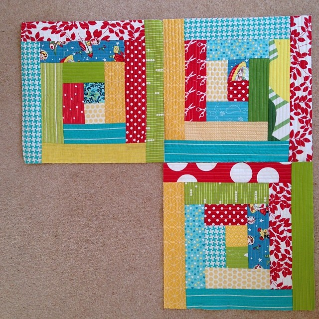Quilt as you go logcabin blocks for a dog bed. 3 more to make..