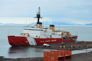 Coast Guard Cutter Polar Star moored at the ice pier in McMurdo, Antarctica Jan. 24, 2014. U.S. Coast Guard photo by Lt.j.g. Paul Garcia.