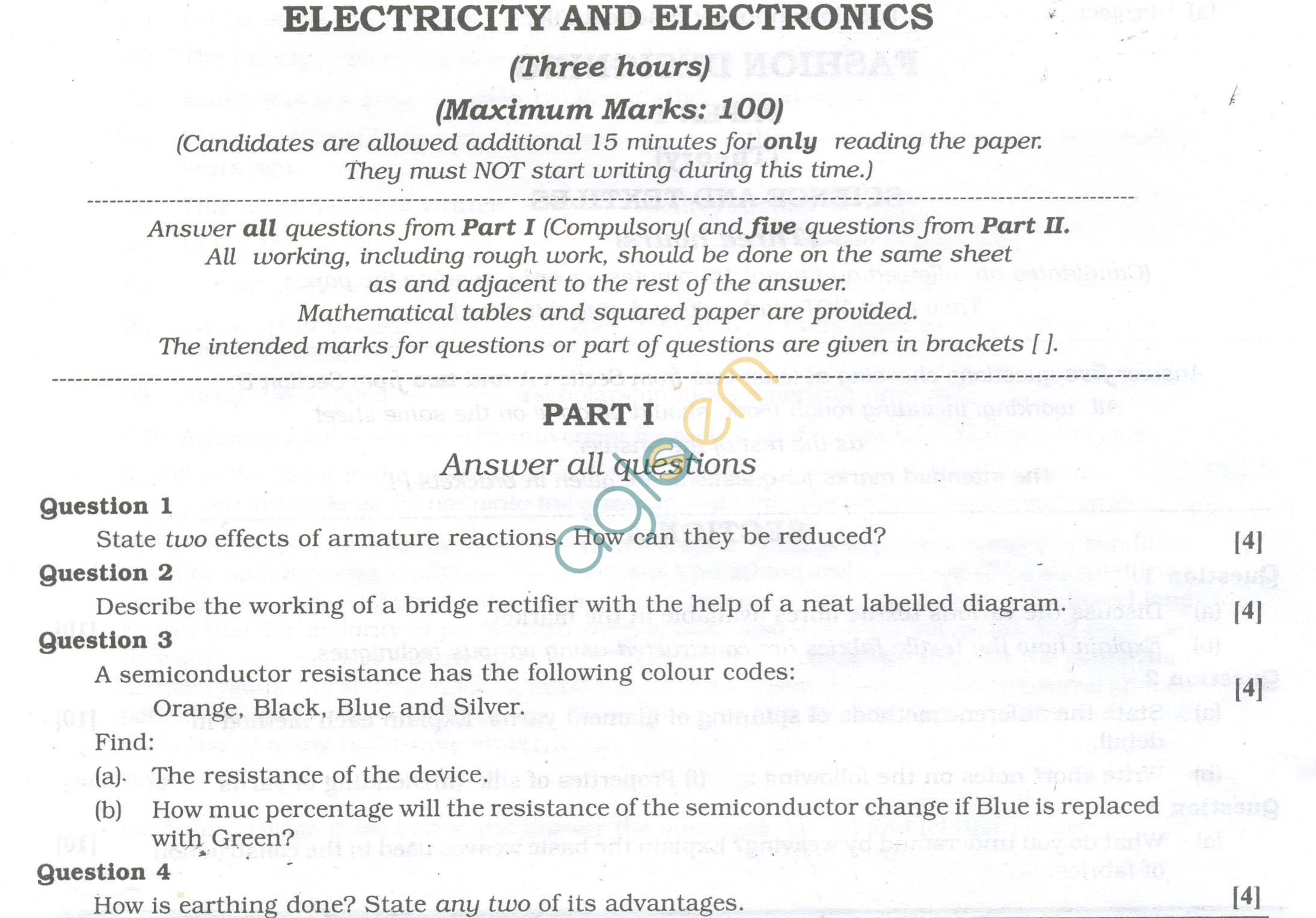 ISC Question Papers 2013 for Class 12 - Electricity and Electronics