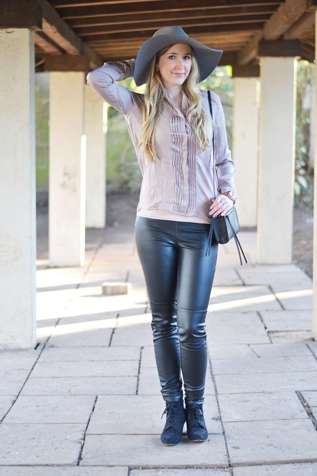 Outfit Flieder und Leder (3)