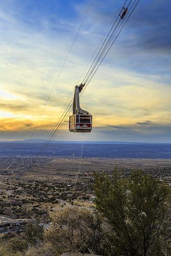sunset newmexico southwest desert albuquerque aerial nm tramway sandia sandiapeak tramcar