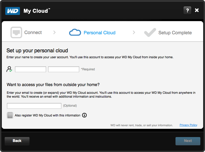 WD My Cloud Setup - Step 4