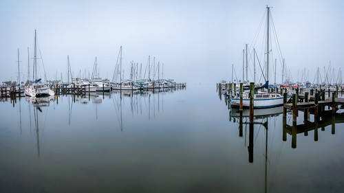 sky panorama usa mist reflection water fog sailboat marina river landscape boat dock cityscape florida titusville watercraft centralflorida merrittislandnationalwildliferefuge minwr