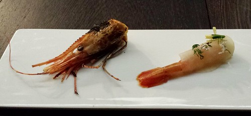 Alaskan red shrimp 2 ways: rosemary torched mousse, raw wrapped with fermented kohlrabi