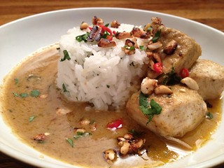 Pork Penang Curry : Garnish with Coriander and Peanuts